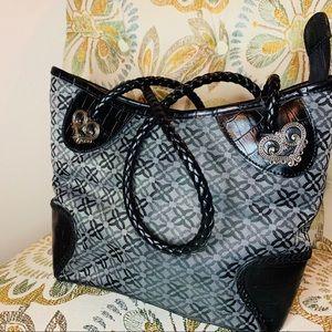 Bueno Handbag Heart Accents Braided Handles